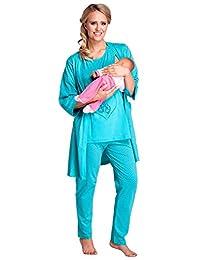 Happy Mama. Womens Maternity Hospital Robe Pyjamas Top Set Labour & Birth. 227p