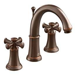 American Standard 7420.821.224 Portsmouth Widespread Faucet with Speed Connect Drain with Cross Handles, Crescent Spout, Oil Rubbed Bronze