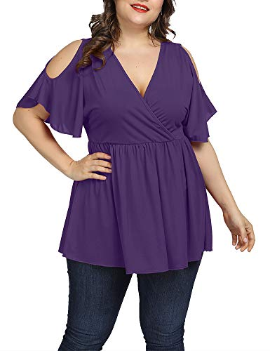 - Allegrace Women Plus Size Summer Cold Shoulder Tops Wrap V Neck Flowy Ruffle Sleeve Shirts Purple 1X