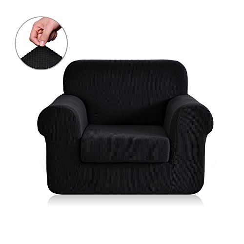 Chunyi 2 Piece Jacquard Polyester Spandex Sofa Slipcover (Chair, Black)