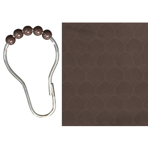 Kenney Vinyl Shower Liner with 12 Beaded Roller Rings, 70 by 72-Inch, Chocolate by Kenney