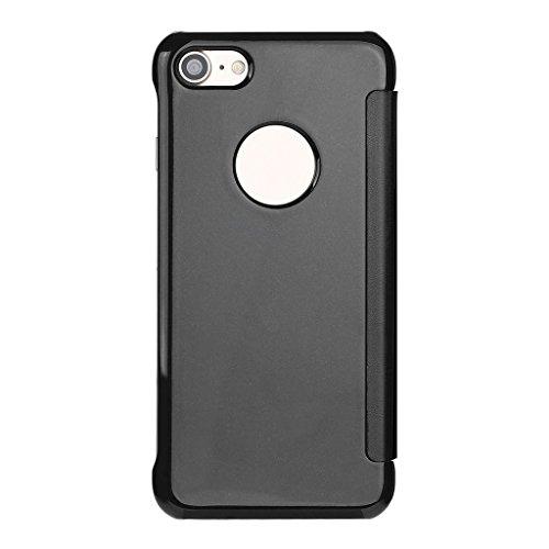 IPhone 6 Plus/6s Plus Funda Wouier® inteligente Fecha / Hora Ver Espejo Brillante tirón del caso duro Con del sueño / Despierte Función Negro
