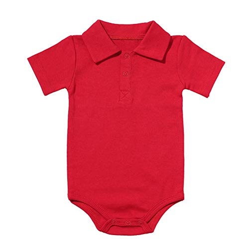 Baby Boys Pure Color Cotton Short Sleeve Polo Bodysuit 3-24 Months (6 Months, Red)