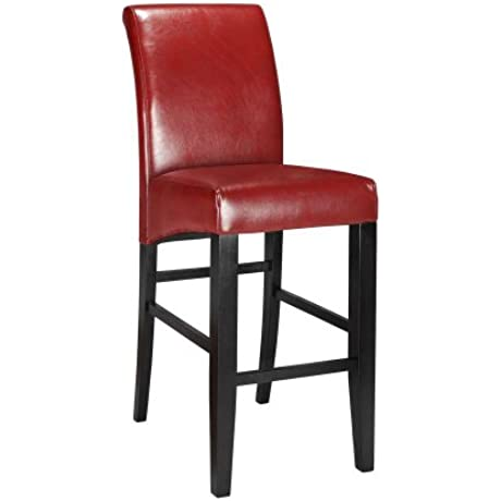 Parsons Rolled Back Leather Bar Stool 47 H RED