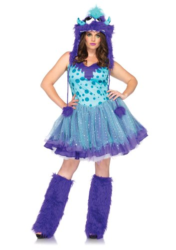 [Leg Avenue Women's Plus-Size 2 Piece Polka Dotty Monster Costume, Aqua/Purple, XXX-Large/XXXX-Large] (Sexy Monster Halloween Costumes)