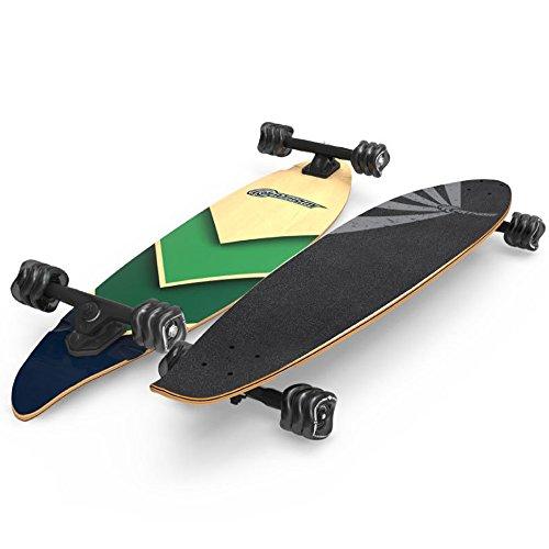Shark Wheel Fathom by Pintail Longboard Skateboard, Ocean Wave - Shark Complete Skateboard