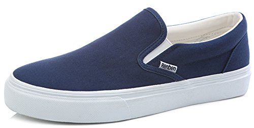 Idifu Donna Casual Slip On Platform Shoes Sneakers Basse In Tela Blu