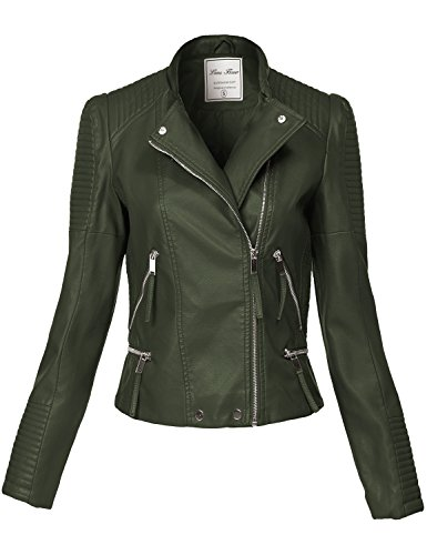 Luna Flower Women's Silver Hardware All Over Zip Moto Faux Leather Jackets Dark_Green M