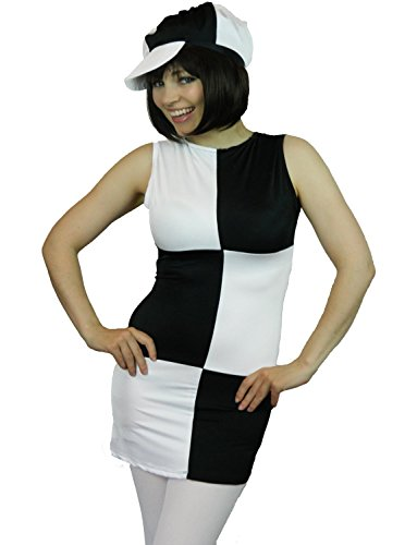 [Yummy Bee Womens Disco 60s 70s Mod Costume 1960s Cap + Tights White Size 12] (70s Beauty Adult Costumes)