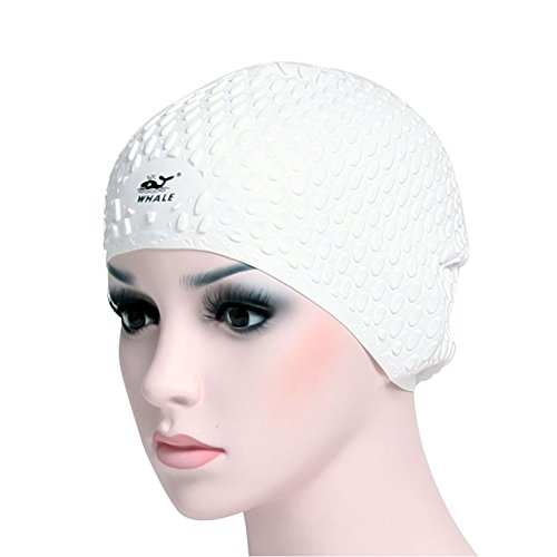 Cap White Light Dome (Whale Swim Cap for Long Hair - 100% Silicone Swimming Caps for Men Women Adults - Lightweight + Extremely Comfortable - Won't Snag Hair)