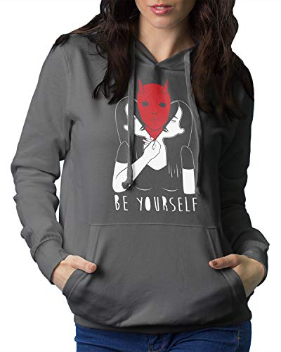 Retta Be Yourself Devil Hoodie Sweatshirt X-Large Charcoal]()