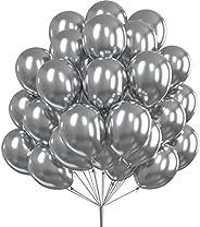 PartyWoo Silver Balloons, 50 pcs 12 inch Metallic Balloons and 20m Ribbon, Silver Metallic Balloons, Shiny Lat