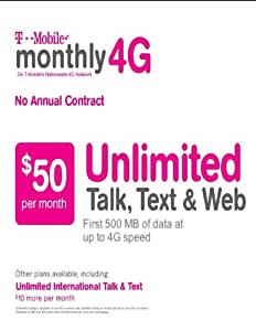 $50 T-mobile Prepaid SIM Card Unlimited Talk Text and Web