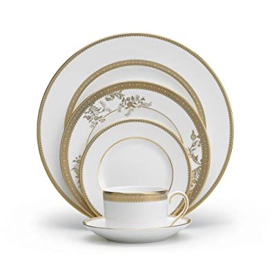 Vera Wang Wedgwood 5014697730 Vera Lace Gold 5-Piece Dinnerware Place Setting - 5-Piece place setting - 1 dinner plate, 1 salad plate, 1 bread and butter plate, 1 teacup and 1 tea saucer Material: bone china Vera lace gold adds certain opulence and grandeur to the vera wang dinnerware portfolio; This refined pattern weaves together the unique combination of tailored lace bands and delicate florals - kitchen-tabletop, kitchen-dining-room, dinnerware-sets - 41XT6BEYSQL. SS400  -