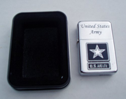 Army Brass Case - United States Army Chrome Plated Brass Refillable Lighter in black tin case