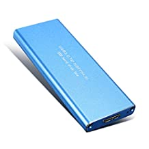 CoCocina USB 3.0 to NGFF M.2 B Key SSD Solid State Drive Adapter Card External Hard Drive Enclosure Case -Blue