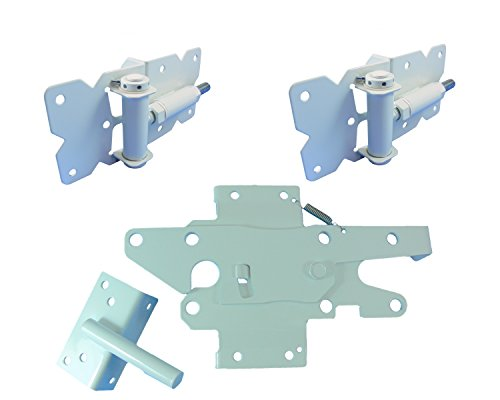 Fence Gate White Latch - Self Closing Vinyl Fence Gate Single Gate Hardware Kit White (for Vinyl, PVC etc. Fencing) Fence Gate Kit - Single Fence Gate Kit has 2 Hinges and 1 Latch w/Screws (Lockable Both Sides)