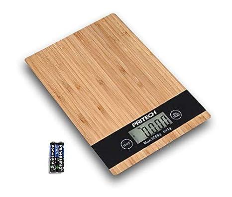 PRITECH - Báscula Digital de bambú Resistente para Cocina, Peso máximo 5Kg y Alta precisión, Auto Apagado y Función de Tara, con Pilas Incluidas PBP-153.