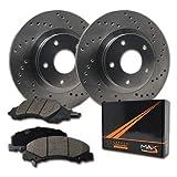 Max Brakes Cross Drilled Rotors w/Ceramic Brake Pads Front Performance Brake Kit KT064421 [Fits:1990-2002 Chevy Astro 4WD | GMC Safari 4WD]