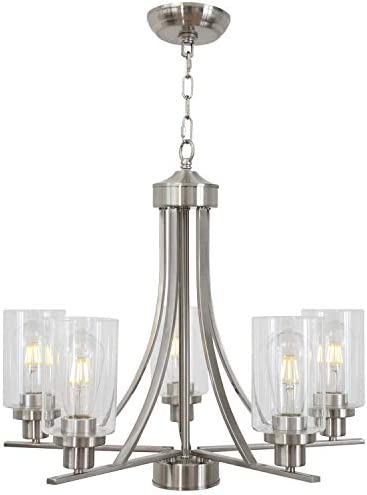 BONLICHT Traditional Chandelier Lighting 5 Light Brushed Nickel Modern Light Fixtures Hanging Pendant Lighting