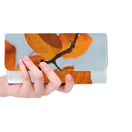 Unique Custom Leaves Autumn Orange Red Blood Red Fall Foliage Women Trifold Wallet Long Purse Credit Card Holder Case Handbag