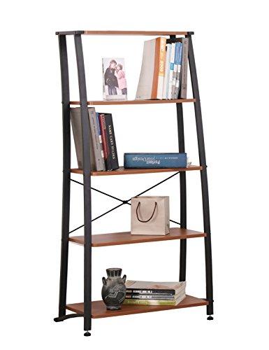FIVEGIVEN 5 Shelf Ladder Bookshelf Modern Wood Bookcase Open Back Sonoma Cherry