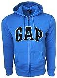 GAP Mens Fleece Arch Logo Full Zip Hoodie ... (Large, New Navy (Black Logo))