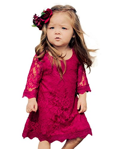 CVERRE Flower Girl Lace Dress Christmas Dresses 3/4 Sleeves Size 14 (Red, 190)