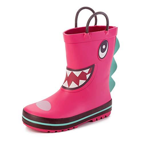 Spesoul Kids Rain Boots Cute Handles Middle Waterproof Rain Shoes for Infants Toddlers Boys Girls
