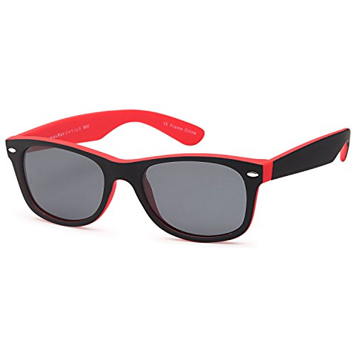 GAMMA RAY Classic Polarized Sunglasses for Kids Ages 5-10 – Red Frame Gray Lens