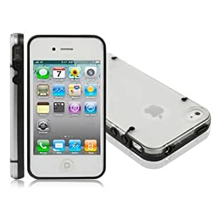DapurMu - Transparent Plastic Protective Shell with Black Frame for iPhone 4 & 4S