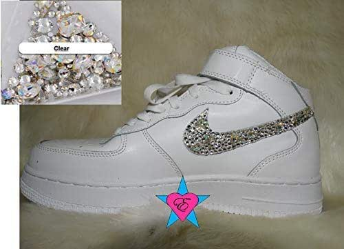 Amazon Com Custom Jewels Gems Air Forces 1 Clear Gems Bling Swoosh White Nike Air Force One Tops Crystal Air 1s Unisex Handmade