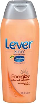 Lever 2000 Energize Advanced Body Wash with Vaseline Intensive Care Skincare Ingredients, 18 oz