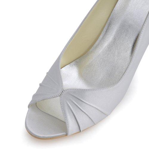 Elegantpark - punta abierta de satén mujer Plata - plata