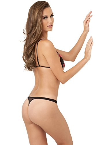 Rene Rofe 2-Piece Lace Peek-A-Boo and Crotchless Thong Set