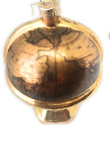 Noel Rue Christmas Tree Ornament Hand Blown Glass Globe Antique Looking World Map