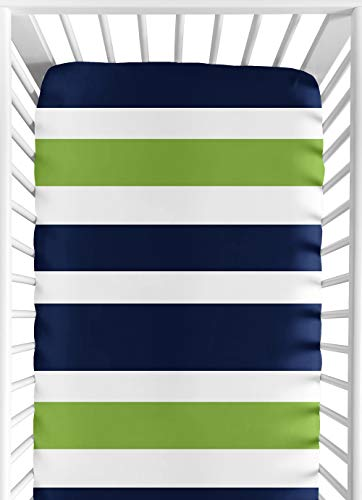 Sweet Jojo Designs Fitted Crib Sheet for Navy Blue and Lime Green Baby/Toddler Bedding Set Collection - Stripe Print ()
