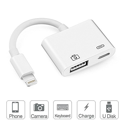 Lightning To USB Camera Adapter, Adwox Lightning to USB 3.0 Female OTG Adapter Cable With USB Power Interface Data Sync Charge Cable for iPad mini Air Pro and iPhone X/8/7Plus, No App Required, Suppor by Adwox
