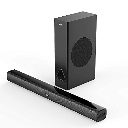(Renewed) boAt AAVANTE Bar 1250 80W 2.1 Channel Bluetooth Soundbar with boAt Signature Sound, Wired Subwoofer, Bluetooth v5.0, Multiple Connectivity Modes, Entertainment Modes and Premium Finish(Premium Black)