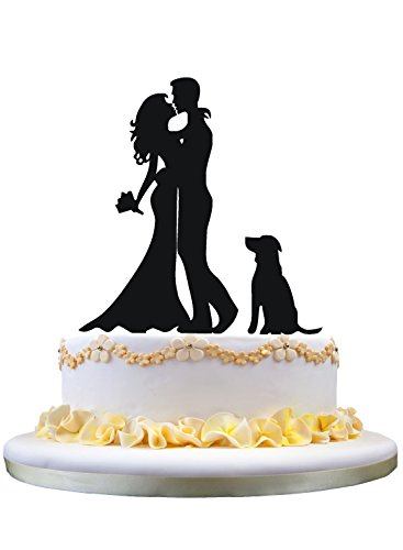 Family Wedding Cake Topper , Bride and Groom with Dog Pet