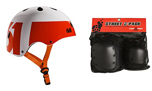 661 Dirt Lid Skate BMX Helmet White/Orange CPSC + TRIPLE 8 Knee Elbow Pads Large ()