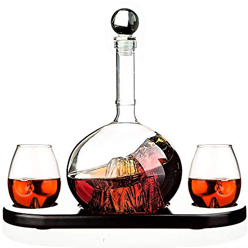 Whiskey Decanter Sets Crystal Glass Decanter for Alcohol by Kemstood – Mountain Decanter for Men and Women – Personalized Set with 2 Glasses and Wood Base for Liquor, Scotch, Bourbon, Brandy, Vodka