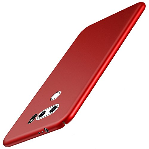 Best Alice for LG V30/LG V30 Plus/LG V30S ThinQ/LG V35/LG V35 ThinQ Phone Case, Smoothly Frosted Matte Shield Hard Cover Skin Ultra Thin Slim Fit Case Full Body Protective Cover, Red