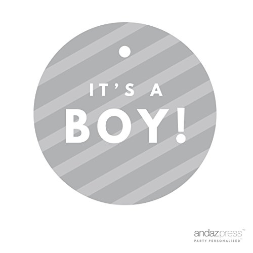Andaz Press Round Circle Baby Shower Gift Tags, It's A Boy!, Striped Gray, -