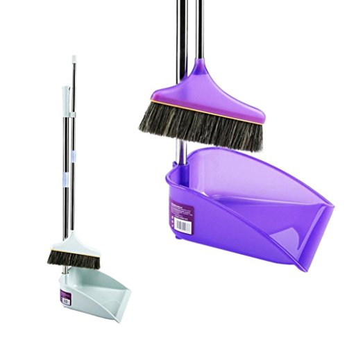Auwer Upright Sweep Set Clean Durable Stainless Steel New Material Home Casual Environmental Recycle Dustpan Lobby With Extendable Broom Combo Strong Hold Ability Shipped from the US (White/Purple)