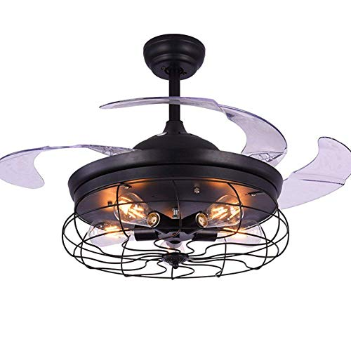FINE MAKER 42-In Retro Industrial Stealth Ceiling Fan Lighting with Remote Control Black Wrought Iron Lampshade for Living Room/Dining / Bar/Club (Black)