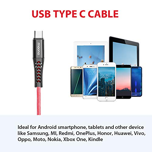 Maono AC301 Unbreakable Tough USB Type C Cable for Fast Charging and High Speed Data Syncs, 1.5 Meter, Red