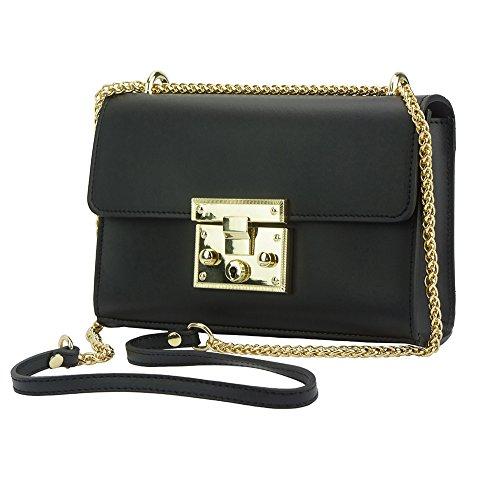 Victoire Genuine Italian Leather Shoulder Bag for Women Adjustable Long Chain Strap Mini Purse Crossbody (Shoulder Link Chain Leather Bag Black)
