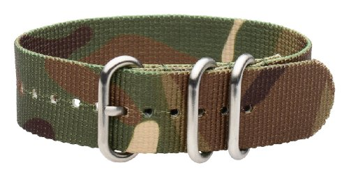 Clockwork Synergy - 3 Ring Heavy NATO Brushed Steel Watch Strap Bands (22mm, Army CAMO)