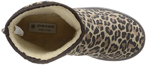 Mujer Suede Leopard Black Coffee Botas Ps PIECES Mocca Ume Boot 0nqSOwSRfE